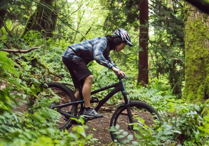 Mountain Biker riding downhill on a trail in the woods