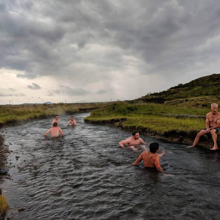 Six people in a dark thermal hotspring in Iceland, surrounded by moss-covered landscape