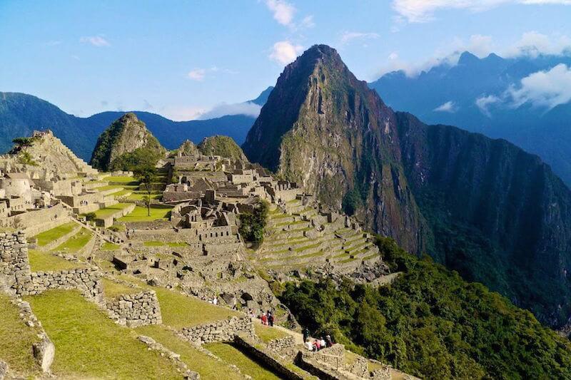 View from above of Machu Picchu mountain in Peru