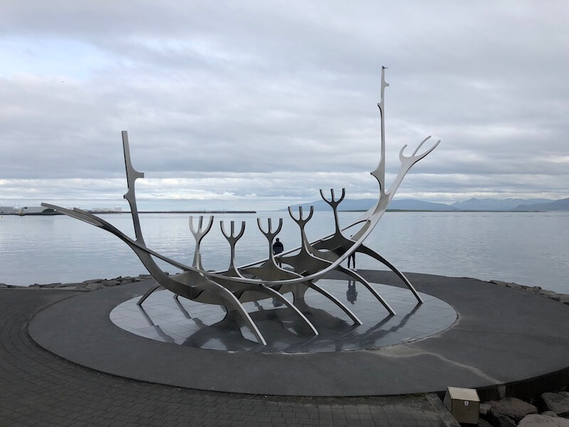 Sculpture of boat made from bones in Reykjavik, Iceland