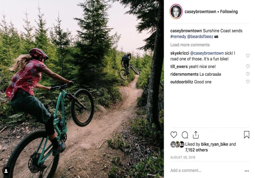 Screenshot of woman mountain biker's Instagram account