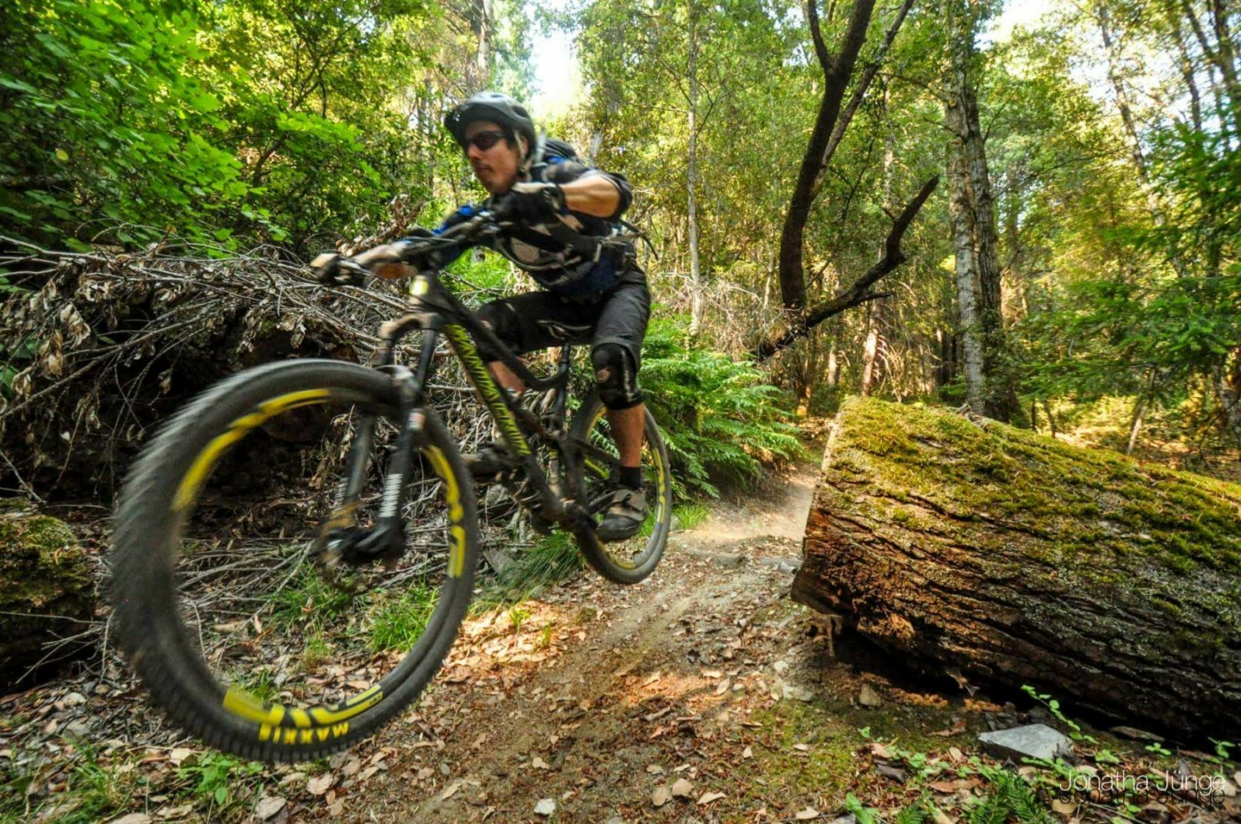 Man on mountain bike riding quickly through a trail in the forest