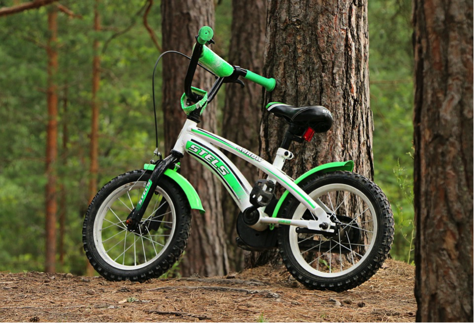 A Green Kid-Sized Mountain Bike Leaning Against a Tree in the Woods