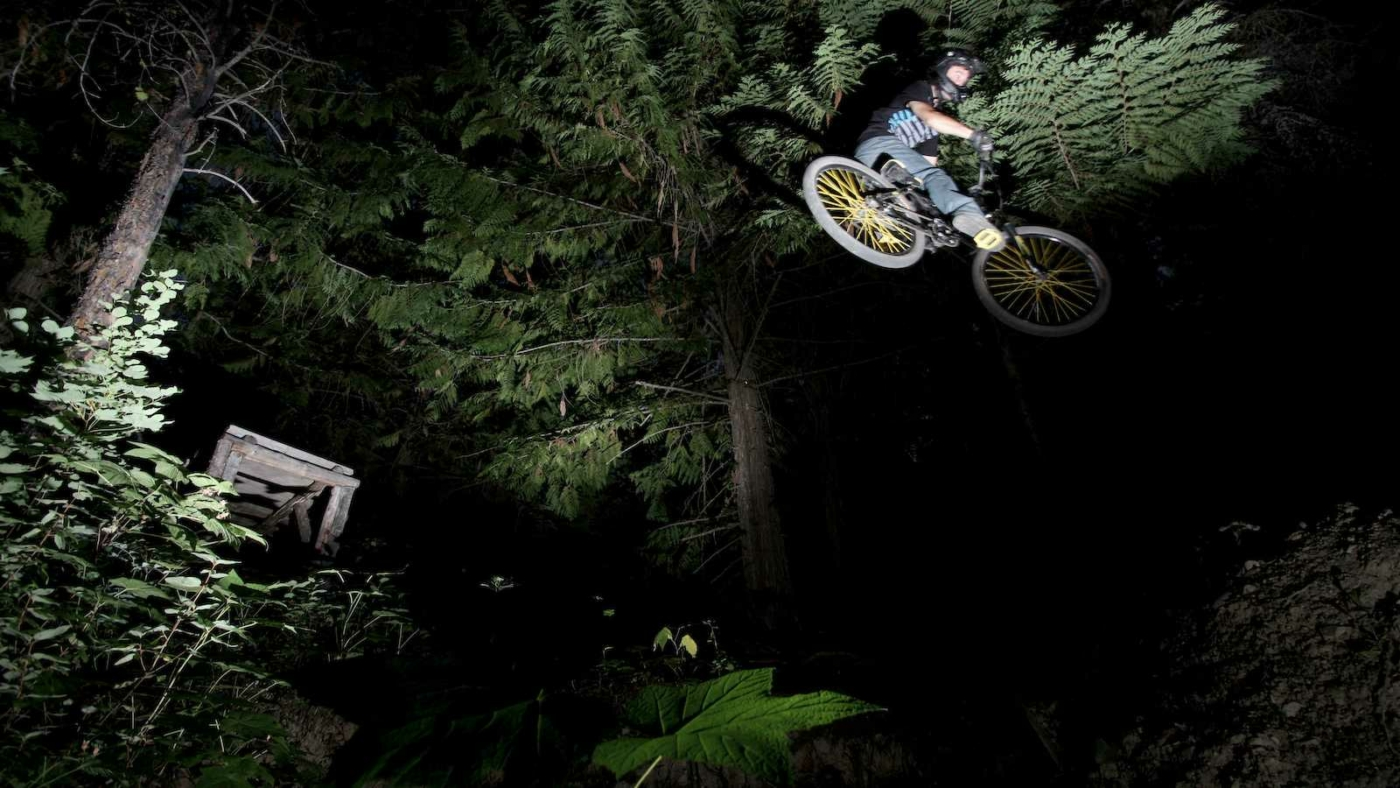 Looking up at spotlight shining on mountain biker jumping on bike in the air in front of large pine tree, surrounded by night blackness